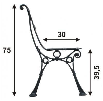 Noga duża do ławki bez oparcia bocznego (5 desek)