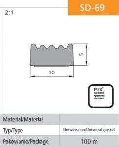 Uszczelka samoprzylepna czarna d-69/4-0 10*5mm