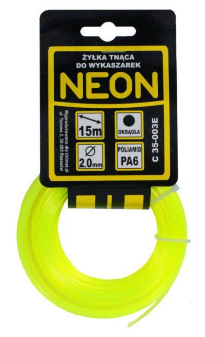 żyłka do wykaszarki okrągła neon 1,6mm 15m