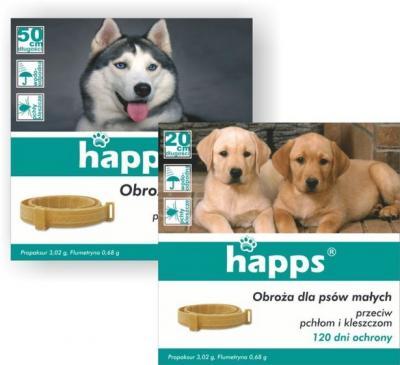 Obroża dla małych psów happs, do zwalczania pasożytów