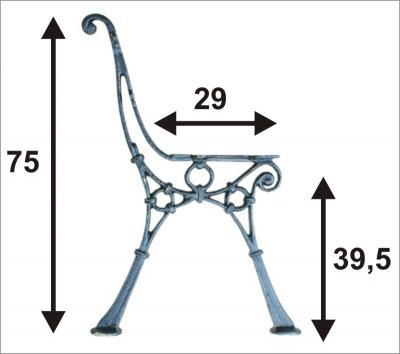 Noga do ławki lekka nr.1 ''c'', 4 deski