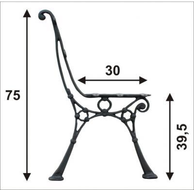 Noga do ławki ogrodowa wysoka ''c'', 5 desek