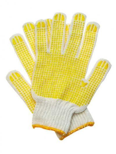 Rękawice dziane nakrapiane żółte 452