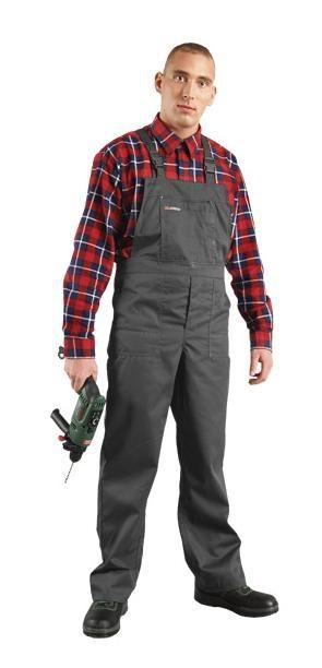 Spodnie ochronne ogrodniczki, szare sms 56