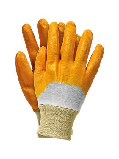 Rękawice nitrylowe ze ściągaczem żółte reconit-y 9, pp-020