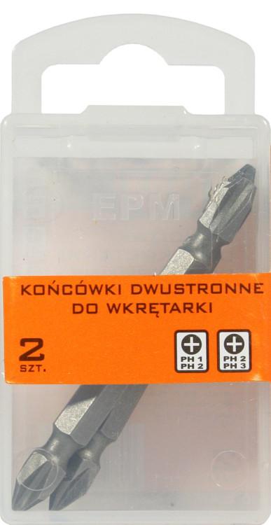 Końcówki do wkrętarki dwustronna 65mm 2szt. ph1-ph2,ph2-ph3
