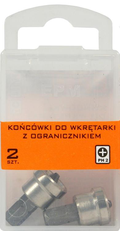 Końcówki do wkrętarki 25mm z ogranicznikiem 2szt. ph2
