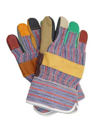 Rękawice wzmocnione skórą bydlęcą kolorową rlkpas