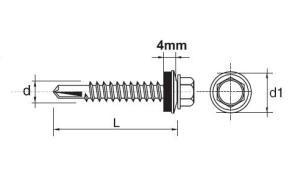 Wkręt samowiertny impax z epdm #5mm ral7016 5.5*25mm