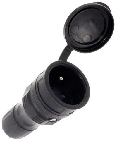 Gniazdo gumowe 2p+z, 16a extreme ip54 czarne