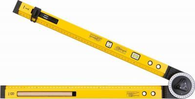 Kątomierz nastawny z poziomicą 500 mm, 2 libelle, ołówek