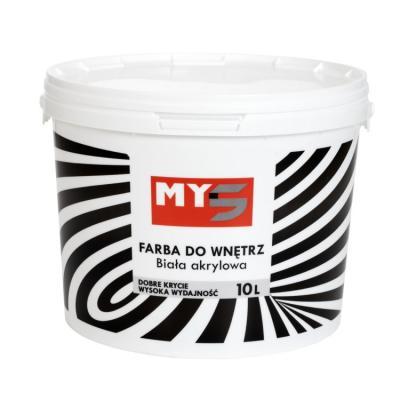 Farba akrylowa do wnętrz biała my5 10l