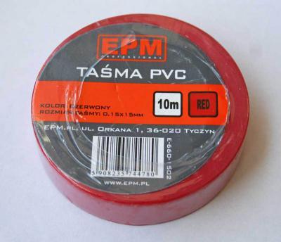 Taśma izolacyjna 15mm*10m czerwona