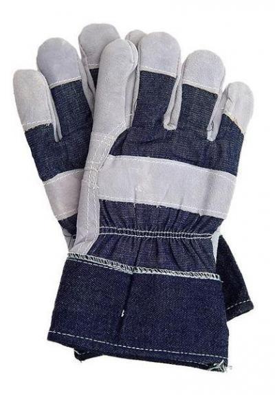 Rękawice skóra bydlęca, dwoina, jeans rb