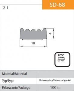 Uszczelka samoprzylepna czarna d-68/4-0 10*4mm