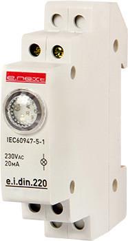 Lampka sygnalizacyjna na szynę din e.i.din.220 czerwona