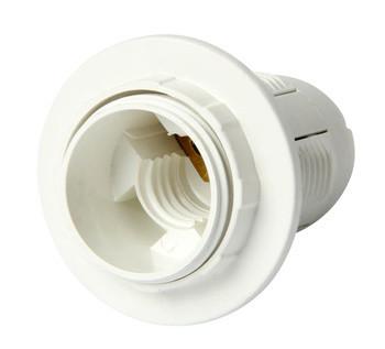 Oprawka plastikowa z pierścieniem e14 biała