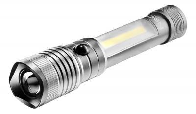 Aluminiowa latarka inspekcyjna 2w1 zoom magnes 4xaaa