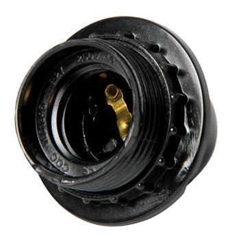 Oprawka bakelitowa z pierścieniem e27 czarna