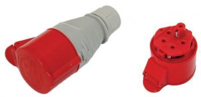 Gniazdo izolacyjne przenośne 32a 400v czerwone 3p+z ip44