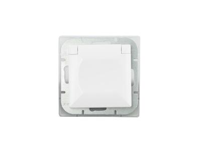 Perła gniazdo pojedyncze p/t z/u ip44 białe klapka biała