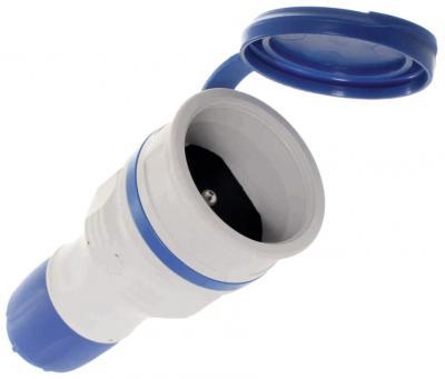 Gniazdo gumowe 2p+z, 16a extreme ip54 szaro-niebieskie