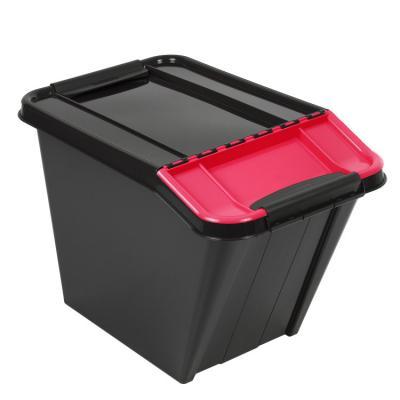Pojemnik pro box 58l pochyły czarny, czerwona pokrywa