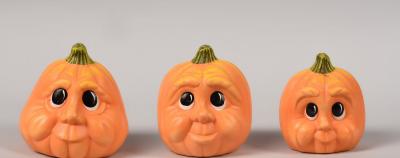 Dynie malutkie z oczkami - 3szt. figurki ceramiczne Halloween pomarańczowe
