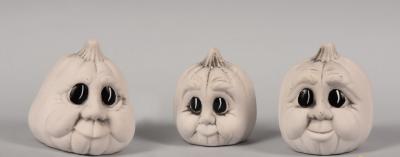 Dynie malutkie z oczkami - 3szt. figurki ceramiczne Halloween białe