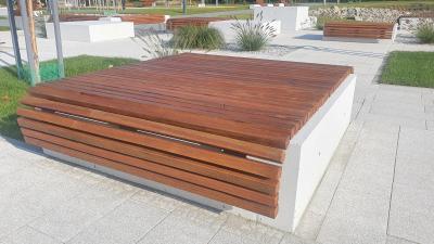 Ławka z betonu architektonicznego 160 x 160 x 40cm