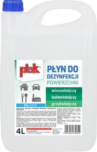 Płyn do dezynfekcji powierzchni, plak 4l