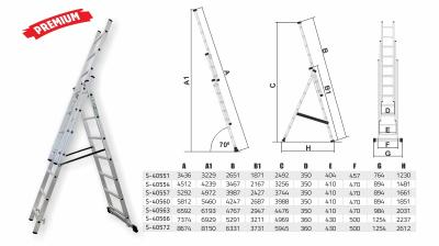 Drabina przemysłowa 150kg 3 elementy x 8 stopni Stalco