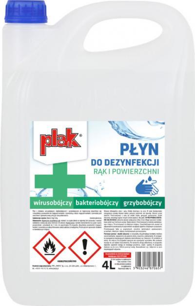 Płyn do dezynfekcji rąk i powierzchni, plak 4l