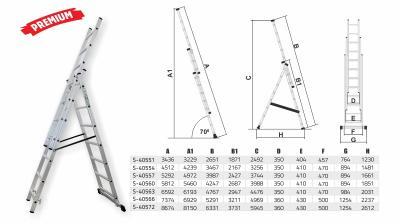 Drabina przemysłowa 150kg 3 elementy x 14 stopni Stalco