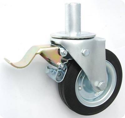 Koło metal-guma 200mm obudowa z trzpieniem+hamulec 66h