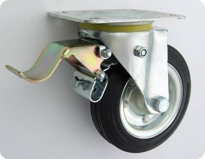 Koło metal-guma 100mm obudowa skrętna+hamulec 15h