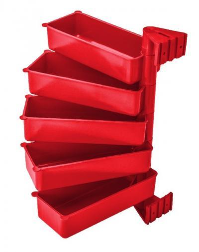 Zestaw półek obrotowych 5 elementowych czerwony