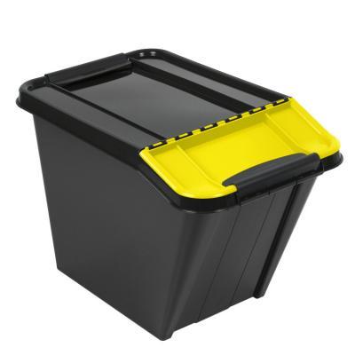 Pojemnik pro box 58l pochyły czarny, żółta pokrywa