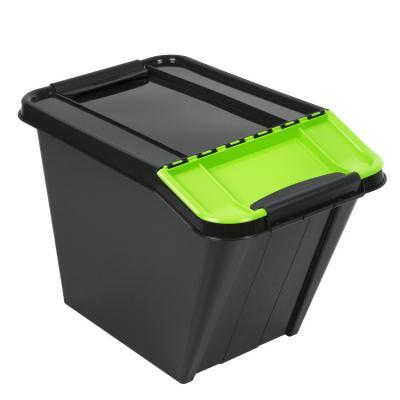 Pojemnik pro box 58l pochyły czarny, zielona pokrywa