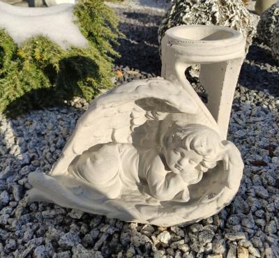 Znicz betonowy śpiący anioł szary